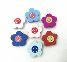 50X Wood Flowers Wood Bead Mix color Spacer Beading Fit making Jewelry Kids Toys