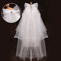 Children Kids Girl Layers Veil White/Ivory Cathedral Wedding Hair Head Veil Comb