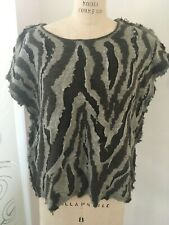 Couture Look Regina Porter Vintage Sweater Grey/Brown Ripped/Layered Look
