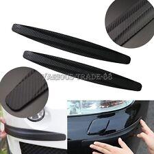 2pcs Black Car Carbon Fiber Door Bumper Scratch Guard Corner Protector Decor Kit