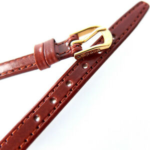 8mm APOLLO 11.130 BROWN PRESTIGE LEATHER WATCH STRAP WITH PINS. GOLD BUCKLE