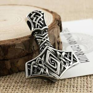 Viking Necklace Thors Hammer Pendant Stainless Steel Mens Jewellery (4mmLeather)
