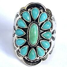 Turquoise Flower Ring Sz 8 Southwest Big Stamped Sterling Silver 925 11.4g