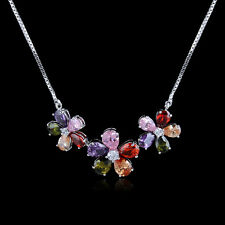 18K Gold GP Multi Colored three Flowers necklace
