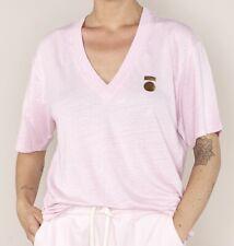 10 DAYS - Tee Shirt Low V-Neck tee linen rose T00 XS 34 oversize NEUF DÉGRIFFÉ