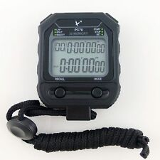 Fine Handheld Black 2 row display 30 dual split Sports Running Stopwatch Timer