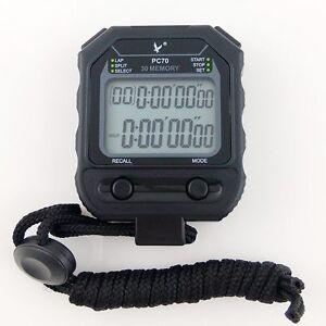 Black LEAP Large 2 row display 30 dual split Professional Stopwatch Sports Timer