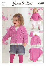 James C Brett Girls Cardi Hat Blanket Flutterby Chunky Knitting Pattern JB315