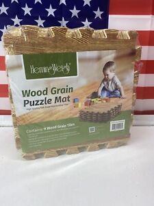 HemingWeigh Wood Grain Print Foam Anti Fatigue Puzzle Mats - Light Brown