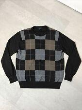 Dockers Men's Sz M Medium Argyle Sweater Long Sleeved Gray Brown Plaid Crew Neck