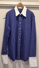 Men's French Cuff Dress Shirt - Blue w/ Shite Pin Stripes - HNS Monogrammed Cuff
