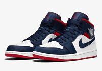 Nike Air Jordan 1 Mid SE USA Olympic White Navy Blue Red 852542-104 Mens 8.5-12