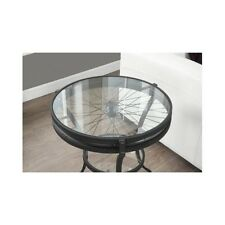 Industrial End Table Accent Side Unique Shabby Chic Bicycle Wheel Glass Top New