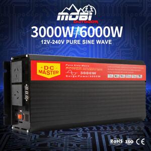 MOBI 3000W Watt Power Inverter Max 6000W Pure Sine Wave 12V To 240V CAR CARAVAN