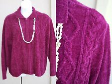 Blair chenille cardigan sweater plus size 3x 2x wine VALENTINES DAY jacket top