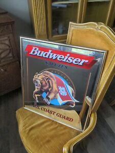 Vtg 1996 Budweiser Salutes U.S. Coast Guard Bar mirror sign, Military mirror