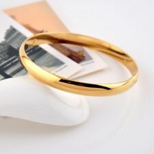 Women's Smooth Bangle 18k Yellow Gold Filled 64MM Bracelet GF 8mm Charms Jewelry