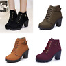 Womens Ankle Boots Lace Up Buckle Zip Mid Chunky Heel Booties Round Toe Shoes