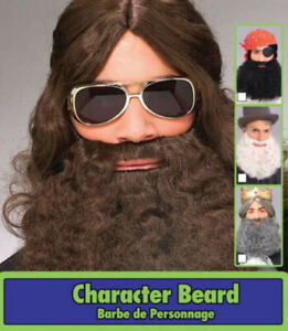 ADULT LONG CURLY BROWN BEARD & MUSTACHE PIRATE KING WISEMAN HIPPIE COSTUME
