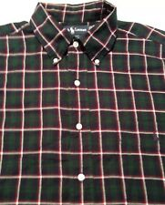 Men's Large, Green & Navy Plaid, Ralph Lauren button down shirt.