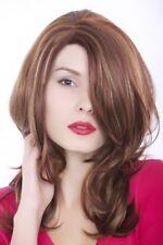 Perruque Femmes Rouge Brun avec Mêches Blondes Long Raie 55cm Gfw976