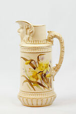 Large and Rare Royal Worcester Antique English 1889 Pitcher with Head on Spout