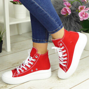 Canvas Trainers Lace Up Platform Ladies Womens High Top Casual Sneakers Shoes