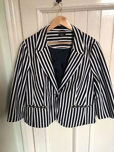 M&Co Womens White Navy Striped  Jacket Blazer Size 20-22 used