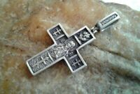 VINTAGE STERLING SILVER 925 ORTHODOX CROSS HOLY FACE OF JESUS and ST. TRYPHON