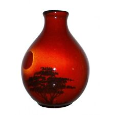 New boxed Poole Pottery African Sky small red round bud vase 12.5cm