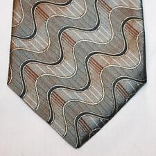"""NEW 64"""" Bruno Pirttelli Silk Neck Tie Metallic Beige with Black & Burgundy 1286"""