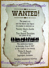 30 WESTERN WANTED POSTER INVITATIONS AND RSVP CARDS PERSONALIZED 4 YOU