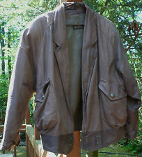 Vintage EXPRESS Bomber  DISTRESSED LEATHER Jacket LARGE Lined SNAPS Gorgeous!