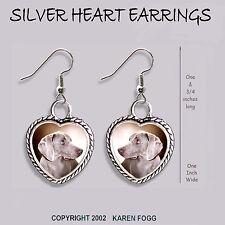 Weimaraner Dog - Heart Earrings Ornate Tibetan Silver