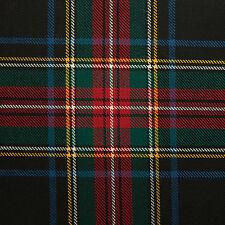 Stewart Black Scottish Tartan 100% Luxury Lightweight Wool - 2.50 Mtrs