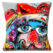 "NEW ABSTRACT PAINTED CAT BIRD MULTICOLOUR 16"" X 16"" Pillow Cushion Cover"