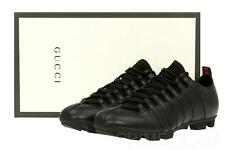 NEW GUCCI BLACK LEATHER CURRENT WEB DETAIL LACE-UP CASUAL SNEAKERS SHOES 7.5/8.5