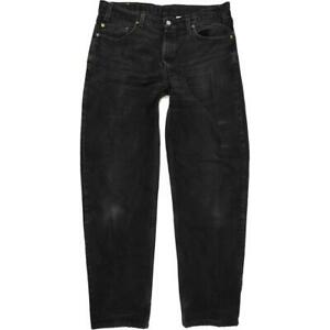 Levi's 550 Black Straight Relaxed Mom Jeans High Waisted W36 L34 (60629)