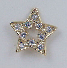 Pair 14K Yellow Gold STAR CZ Stud Earrings with Screw Back for Children & Petite