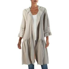 Free People Haley Women's Lace Inset Hooded Bell Sleeve Drapey Duster Sweater