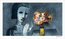 """CHARLES BLACKMAN """"Girl With Flowers"""" Signed, Limited Edition Print 60cm x 107cm"""