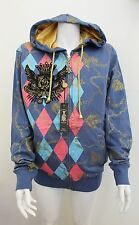 NWT Christian Audigier Ed Hardy Men's Chain Crest Hoodie Jacket Blue 4X-LARGE