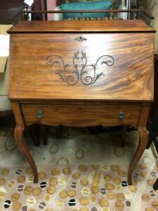 Antique Slant Front Mahogany Secretary Writing Desk