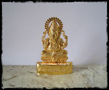 LORD GANESH GANESHA IDOL MAHARAAJ HINDU GOD GOLDEN METAL STATUE CAR DASH BOARD