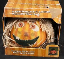Gemmy Fiber Optic Light Scarecrow Pumpkin Jack O' Lantern Halloween SEE VIDEO