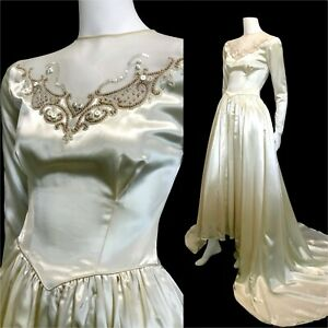 True vintage 1940s satin wedding dress old Hollywood lng sleeve beaded XXS as is