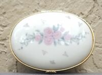 Vintage Lenox Oval Floral Porcelain Pill/Trinket/Jewelry Box