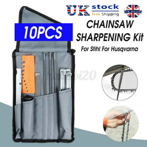 UK 10xChainsaw Sharpening File Filing Chain Sharpen Saw Files Tool Set For Stihl