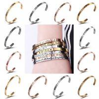 Women Fashion Stainless Steel Love&Wish Letter Open Bracelet Bangle Cuff Jewelry
