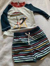 Toddler Boys Baby Gap Swim Suit Trunks & LS Rash Guard Set 6-12-18M Penguin
